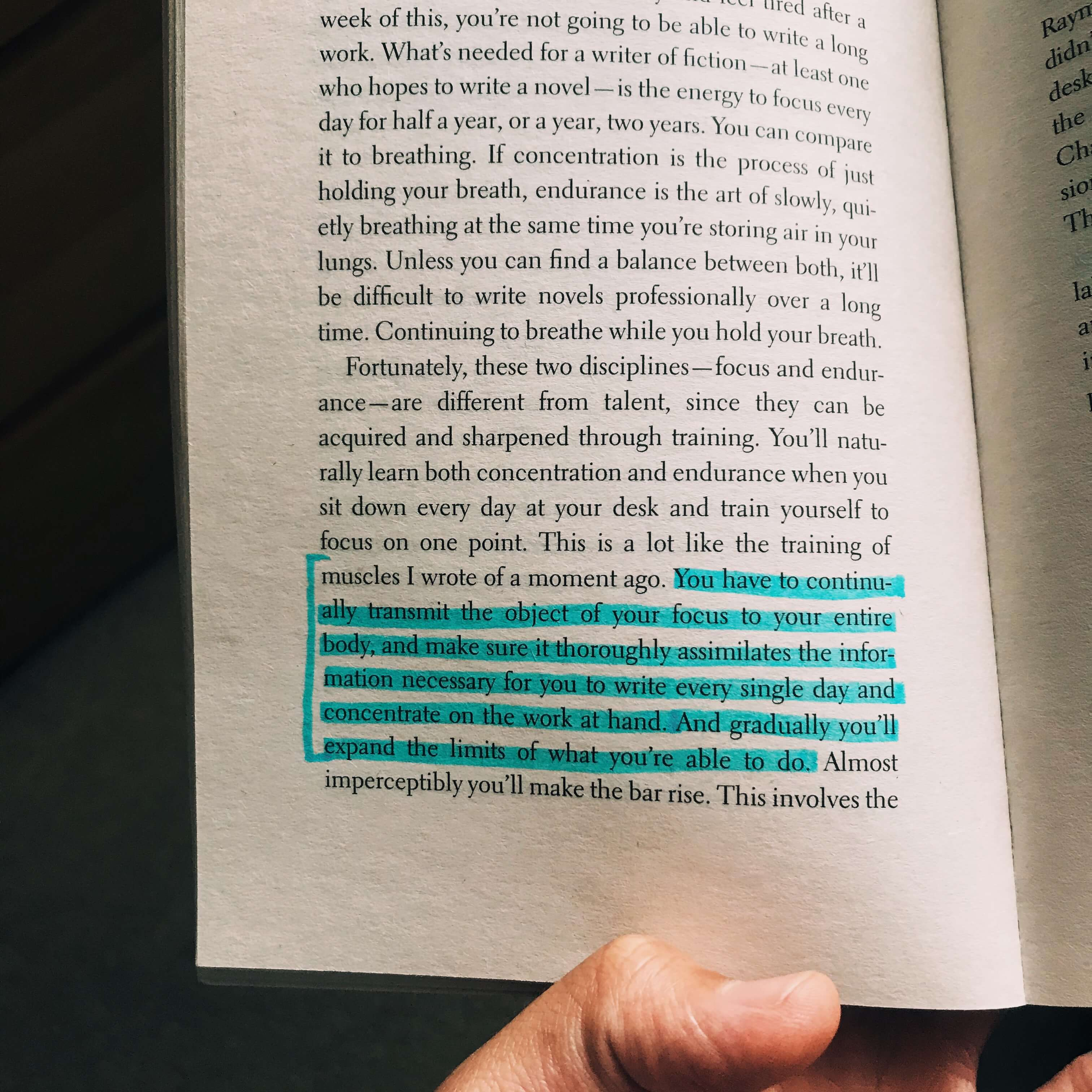 book, highlighted, hand